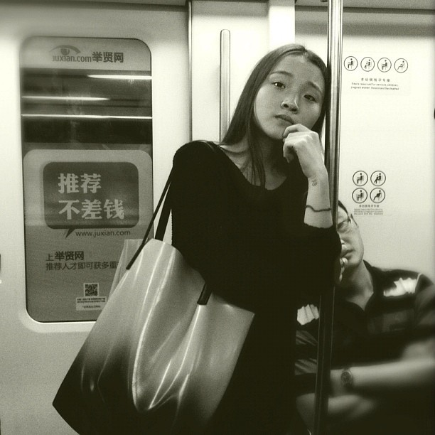 Put your head on my shoulder                 by Godo Chillida beautyisourduty, beijing, blackandwhite, bw, china, girl, hipstamatic, igersbarcelona, iphoneography, monochome, passengers, streetphotography, streetphoto_bw, subway, thoughtful, ubiquography,