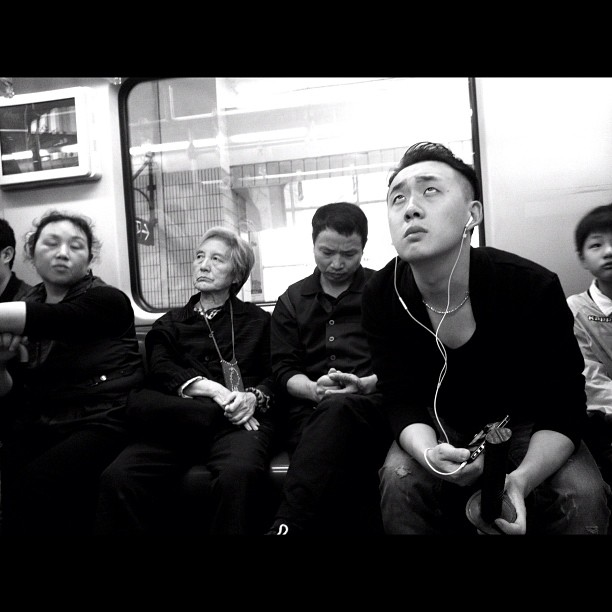 Which one is my  station?              by Godo Chillida blackandwhite, bw, china, guy, igersbarcelona, iphoneography, monochome, passengers, shanghai, streetphotography, streetphoto_bw, subway, ubiquography,
