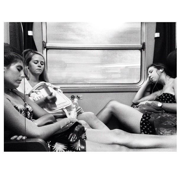 Train sleepers      by Federico Giusti biancoenero, blackandwhite, bn, girls, igerslucca, iphoneography, monochrome, passengers, sleep, train, woman,