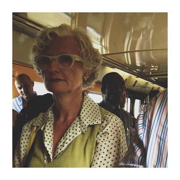 La dame du RER / The lady from the RER by CeCiLe E. candid, instagood, instamood, iphoneonly, metro, paris, passengers, portrait, rer, strangersintransit, streetcolors, streetphotography, streetphoto_color, train,
