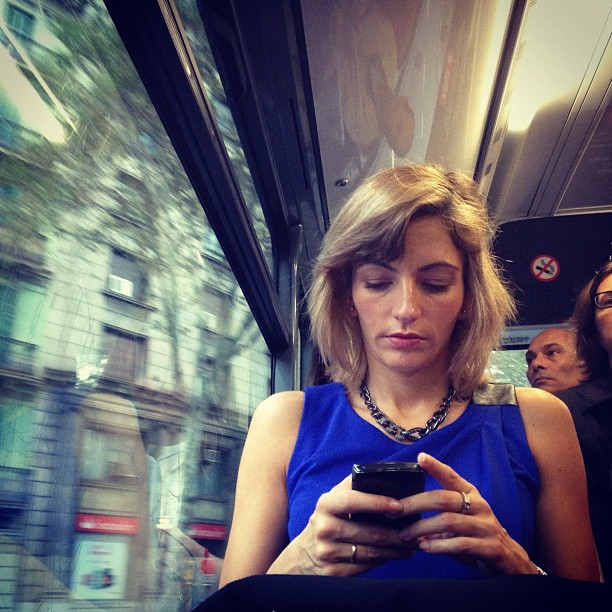 High speed texting  by Fran Simó passengers, womenarebeautiful,