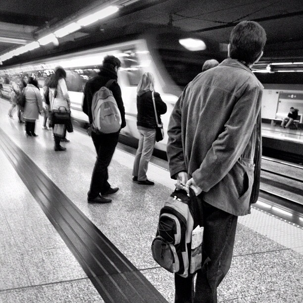 Here comes my train by Vicente Jurado igersmadrid, passengers, simplybnw, street,
