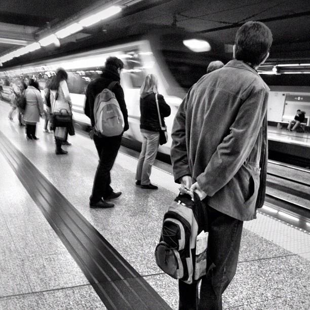 Here comes my train by Vicente Jurado igersmadrid, passengers, simplybnw, street,