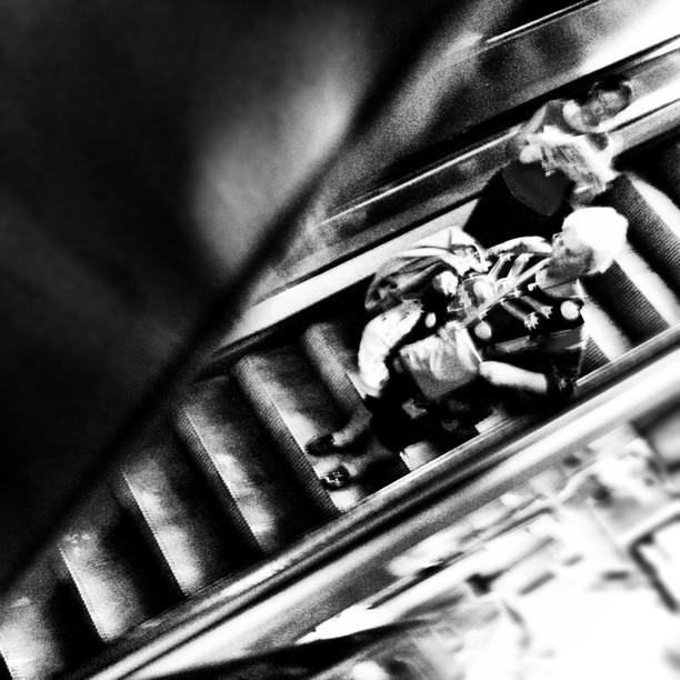 Fontana (BCN) by Lluis Gerard barcelona, catalonia, diagonal, metro, passengers, spain, stairs,