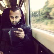 Worlds rush past...         by southcoasting alwayscarryaspare, latergram, passengers, peopleonpublictransport, picoftheday, train, trainstories, wfh,