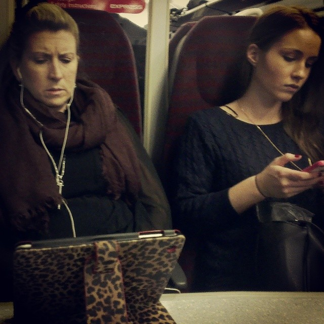 A leopard doesn't change her spots     by southcoasting ipadcover, leopatdskin, passengers, train,