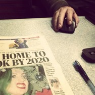 I'll be home by 20 past 8, like the newspaper says     by southcoasting cropped, hand, headline, passengers,