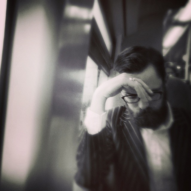 The Thinker    by southcoasting passengers, peopleonpublictransport, train,
