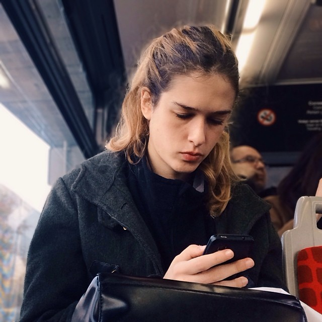 Texting   by Fran Simó passengers, womenarebeautiful,