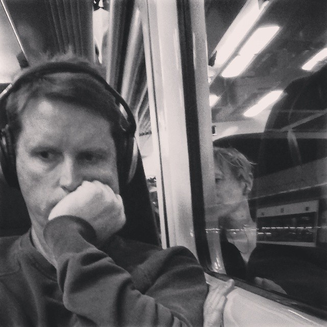 One and a half      by southcoasting blackandwhite, black_and_white, passengers, screenreader, train,