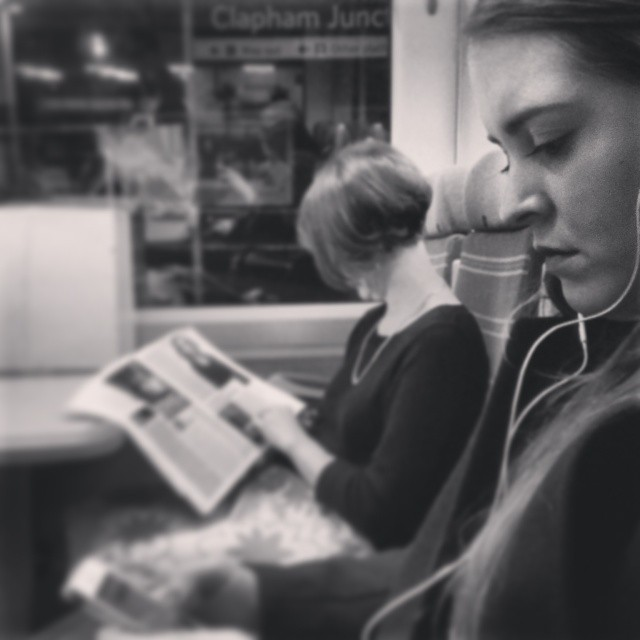 On the train     by southcoasting blackandwhite, black_and_white, nighttrain, passengers,