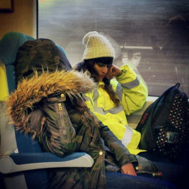 One in hiding, one high viz     by southcoasting furtrimmedhood, passengers, trainstories, yellowhighvisibilityjacket,