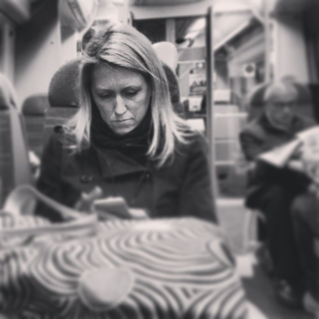Concentration       by southcoasting blackandwhite, black_and_white, onthephone, passengers, patterns, train,