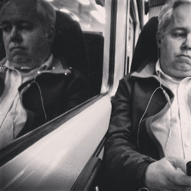 Like twins separated by glass     by southcoasting nighttime, passengers, reflection, train,