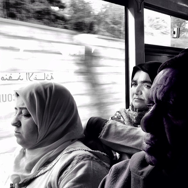 Emergency Exit: It is something more than a sentence written on a window by Godo Chillida blackandwhite, bus, bws_worldwide, fes, monochrome, morocco, passengers, shootermag, streetbw, streetphoto, streetphotography, ubiquography,