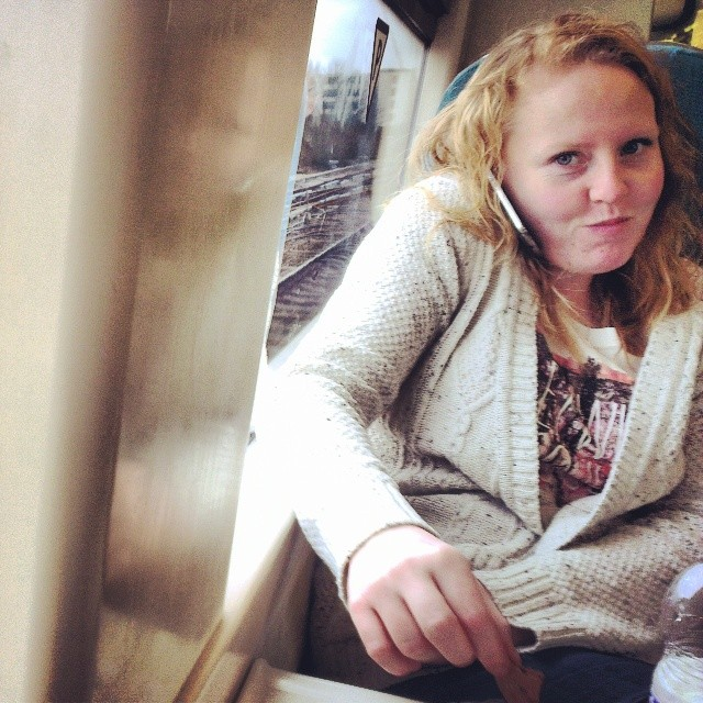 Smiling Strawberry     by southcoasting differenttrain, passengers, redhead, train,