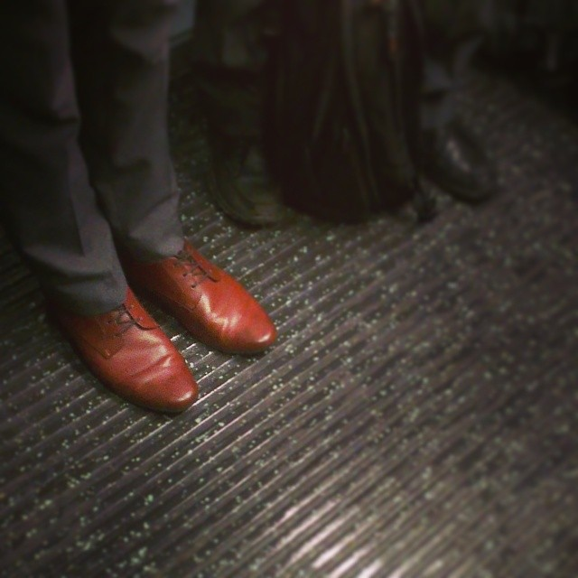 Nice shoes      by southcoasting brown, leather, passengers, shows, train,