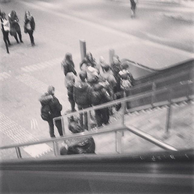 De trappen van het metrostation is het nieuwe fietsenhok?  by rich_hj blackandwhite, bnw, bnwholland, bnw_captures, bnw_whishpers, bw, igers010, igholland, ignetherlands, kids, ov, passengers, publictransport, school,