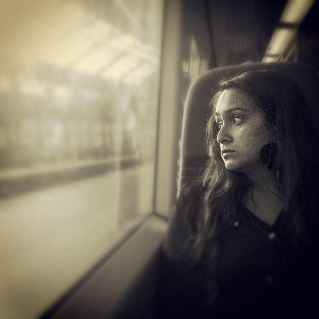 Wistful, on the way home from the weekend    by southcoasting passengers, sepia, train,