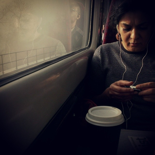 Shadows and ghosts        by southcoasting listeningtomusic, mist, passengers, peopleonpublictransport, sussex, train, traingang,