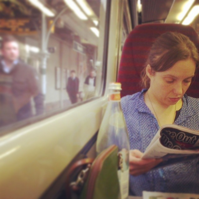 I saw her from the platform on a passing train    by southcoasting passengers, station, trainstories,