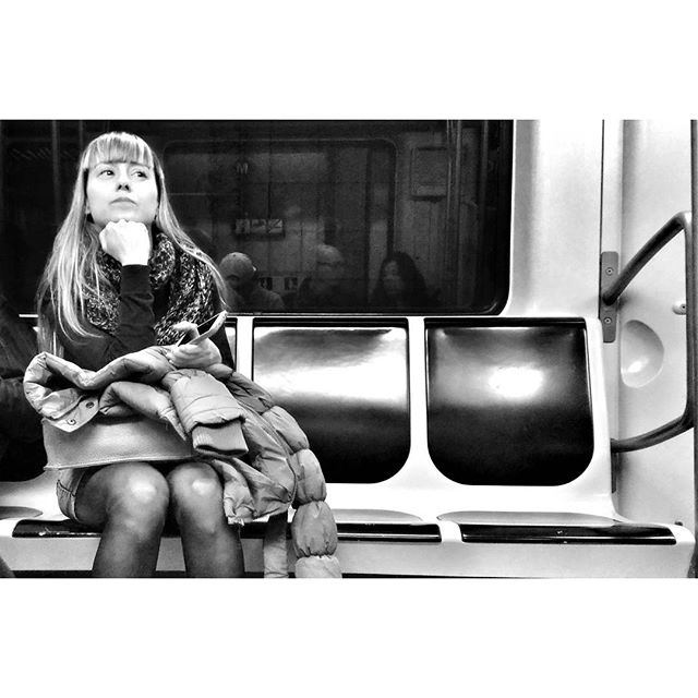 Classic pose by Godo Chillida barcelona, blackandwhite, black_and_white, bnw, bnw_life, bnw_society, bw, bw_lover, bw_photooftheday, bw_planet, girl, monochrome, passengers, posing, streetphoto, streetphotography, streetphotography_bw, streetphoto_bw, subway, ubiquography,