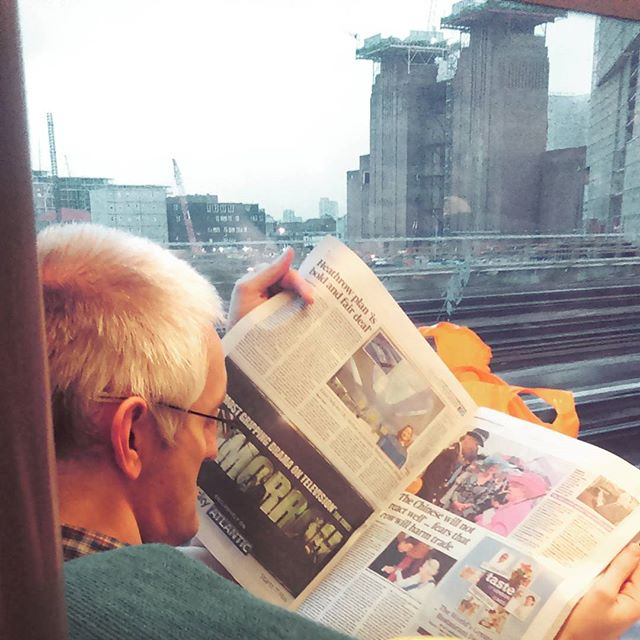 On the way home by southcoasting batterseapowerstation, newspaperreader, passengers, thebluelightofdusk, traingame,